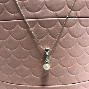 Jewelry - Sterling Silver Pearl CZ Necklace